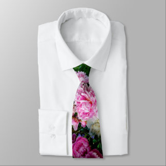 Gravata Peônias cor-de-rosa e brancas