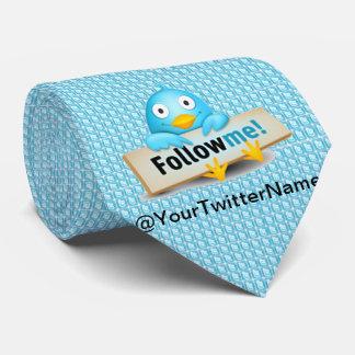 Gravata Personalize com seu nome do Twitter seguem-me laço