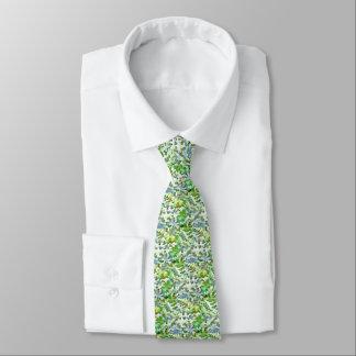 Gravata Pop art abstrato da folha no verde branco e no pó