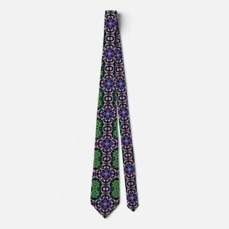 Gravata Preto branco roxo do verde escuro da mandala do