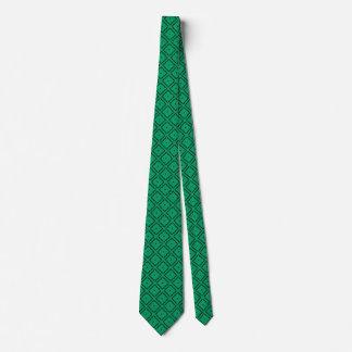 Gravata Preto e teste padrão elegante verde irlandês