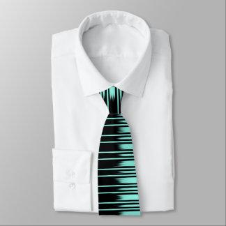 Gravata Preto/teste padrão à moda listra de turquesa