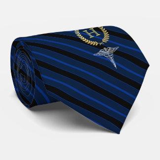 Gravata Profissional médico azul quadro do monograma