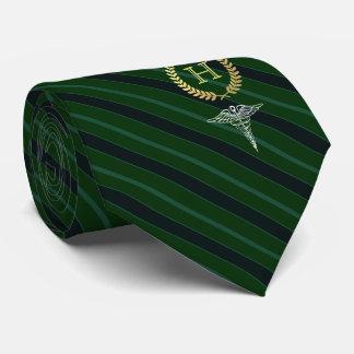 Gravata Profissional médico verde quadro do monograma