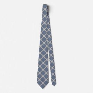 Gravata quatrefoil das Azul-cinzas