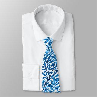 Gravata Ramo, azuis cobaltos & branco do salgueiro de