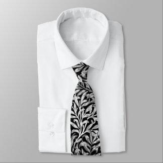 Gravata Ramo, preto, branco & cinzas do salgueiro de
