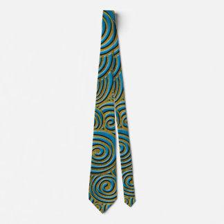 Gravata Redemoinho dourado elegante do Doodle no couro