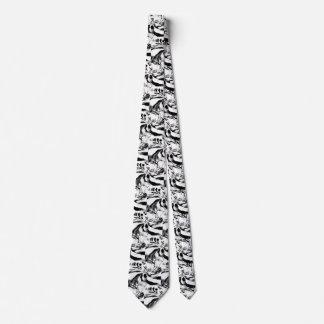 Gravata Redemoinhos preto e branco do laço moderno do