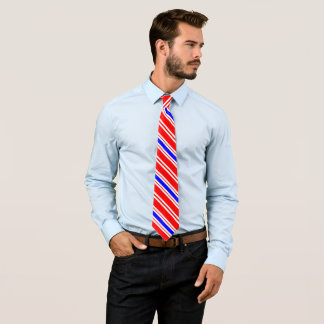 Gravata Riscas azuis brancas vermelhas