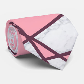 Gravata rosa pastel e vermelho de mármore brancos