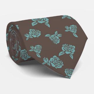 Gravata Rosas agradáveis de turquesa do vintage no fundo