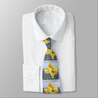 Gravata Rosas amarelos e Bluebonnets da forma de Texas