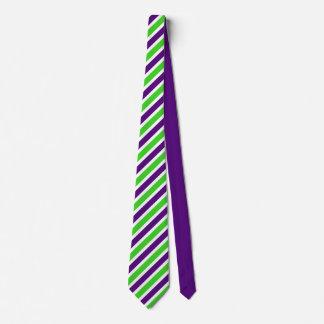 Gravata [Roxo e verde] listras estreitas