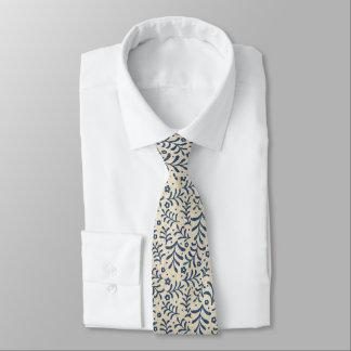 Gravata Sarja de Nimes azul e de creme da chita do falso