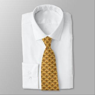 Gravata Scallops de Deco, ouro da mostarda e Brown