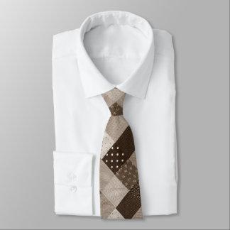 Gravata sepia do design do tecido dos retalhos do estilo