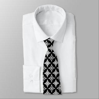 Gravata Shippo com motivo, preto, branco e cinzas da flor