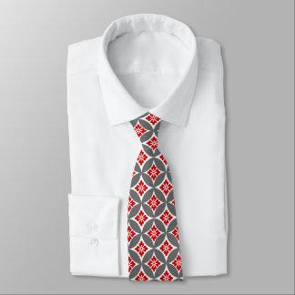 Gravata Shippo com motivo, vermelho, branco e cinzas da