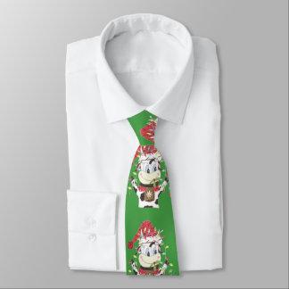 Gravata Snowbell a vaca & o Xmas ilumina o laço verde