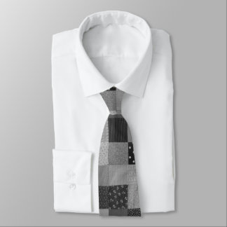 Gravata tecido dos retalhos do estilo do vintage preto e