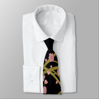 Gravata Tela cor-de-rosa do japonês do preto do ouro de