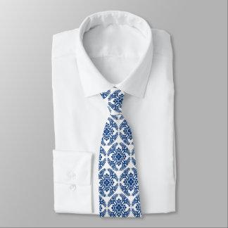 Gravata Teste padrão, azuis cobaltos e branco japoneses do