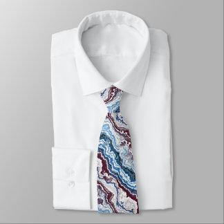 Gravata Teste padrão azul branco vermelho abstrato da