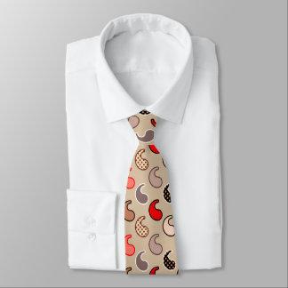 Gravata Teste padrão, bege, vermelho, cinzas e coral