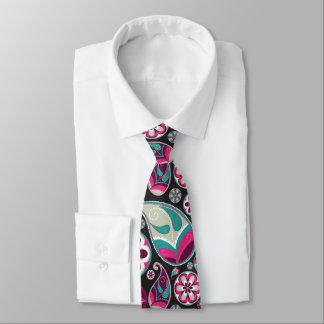 Gravata Teste padrão cor-de-rosa de Paisley da cerceta