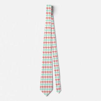 Gravata Teste padrão coral cor-de-rosa e da hortelã de