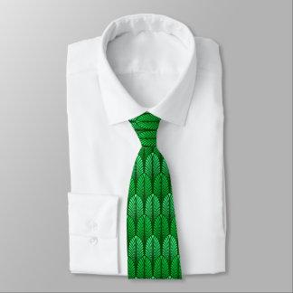 Gravata Teste padrão da pena do art deco, verde esmeralda