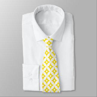 Gravata Teste padrão de bolinhas amarelo e branco moderno