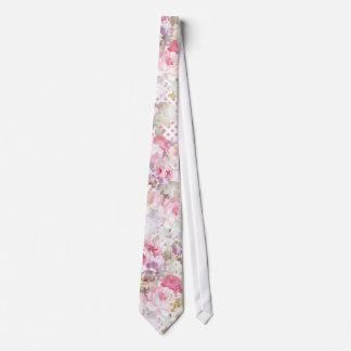 Gravata Teste padrão de bolinhas cor-de-rosa floral do