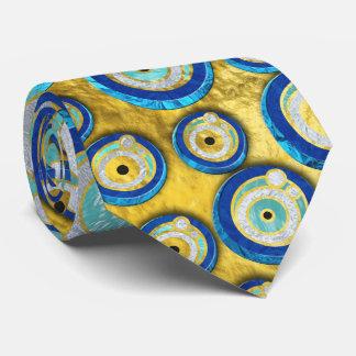 Gravata Teste padrão de vidro azul grego do amuleto do