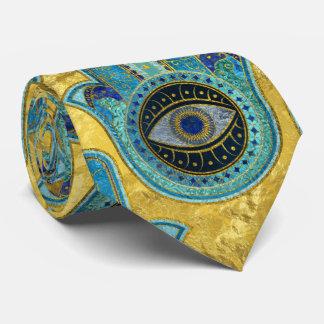 Gravata Teste padrão decorativo da mão de Hamsa no ouro
