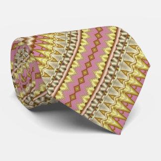 Gravata Teste padrão diagonal do Fractal do malva, do ouro
