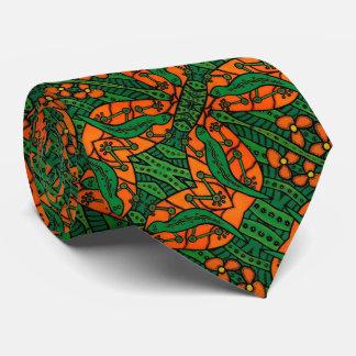 Gravata Teste padrão do lagarto alaranjado e verde