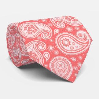 Gravata Teste padrão elegante coral de paisley do vintage