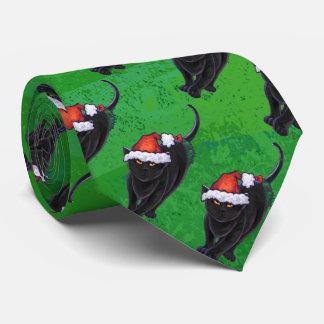 Gravata Teste padrão festivo do gato preto no verde