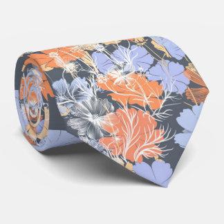 Gravata Teste padrão floral alaranjado violeta cinzento do