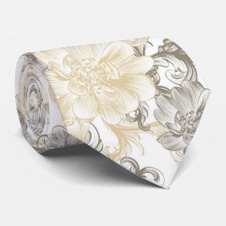 Gravata Teste padrão floral bege das videiras do Victorian