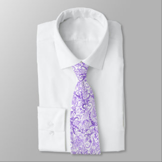 Gravata Teste padrão floral branco violeta roxo bonito de
