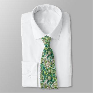 Gravata Teste padrão floral de Paisley do verde limão