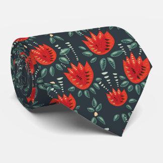 Gravata Teste padrão floral escuro da tulipa vermelha