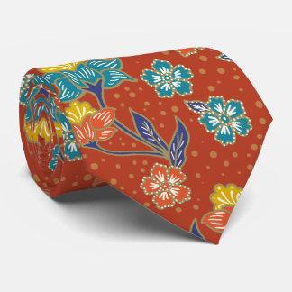 Gravata Teste padrão floral indonésio exótico vermelho do