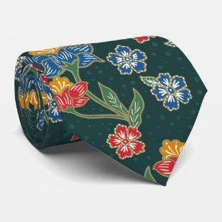 Gravata Teste padrão floral indonésio verde escuro do
