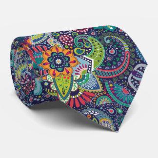 Gravata Teste padrão floral multicolorido de néon de