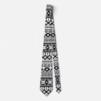 Gravata Teste padrão geométrico asteca preto e branco do