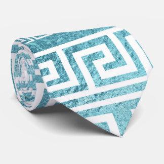 Gravata Teste padrão grego azul delicado do meandro no